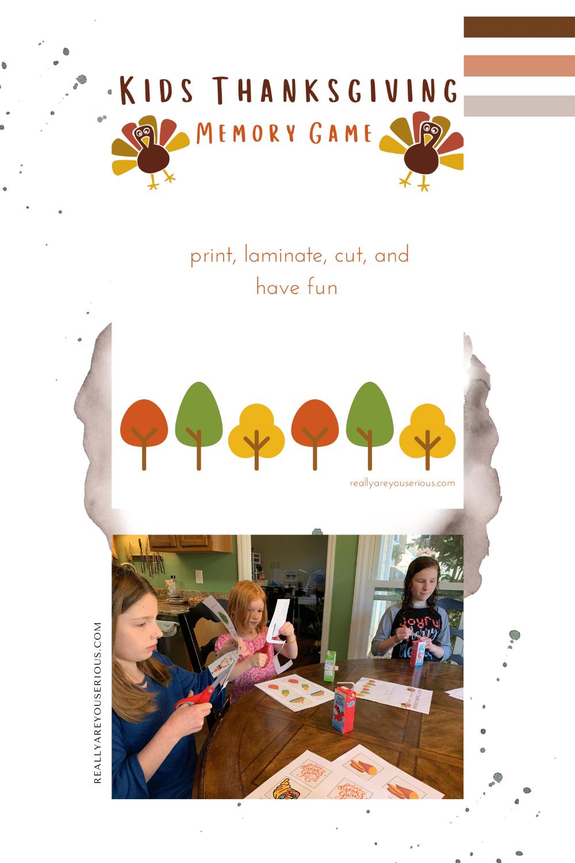 Kids Thanksgiving Memory Game