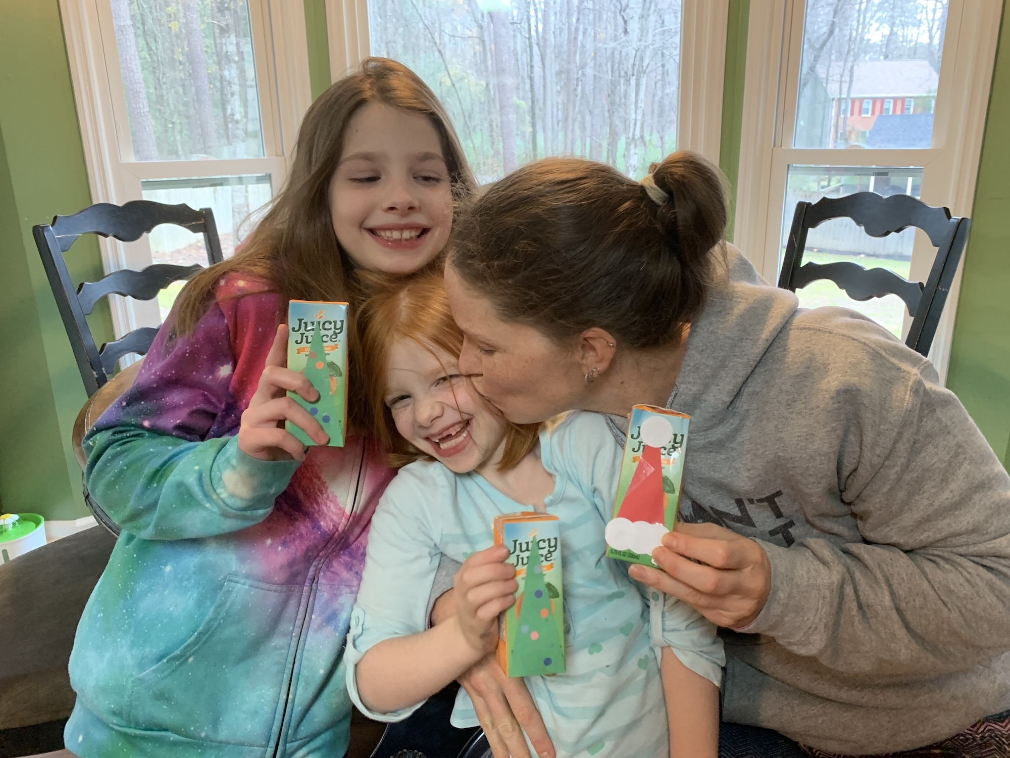 christmas juice box and kisses