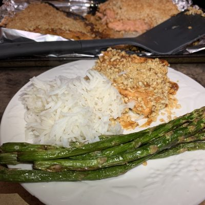 baked salmon dinner with rice and asparagus